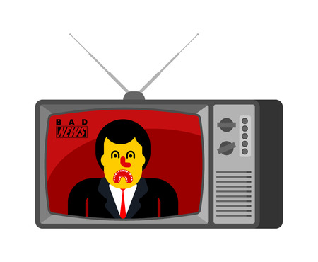 Bad news old tv. Angry broadcasting journalist. nasty Man Anchorman in tv studio. Live broadcasting