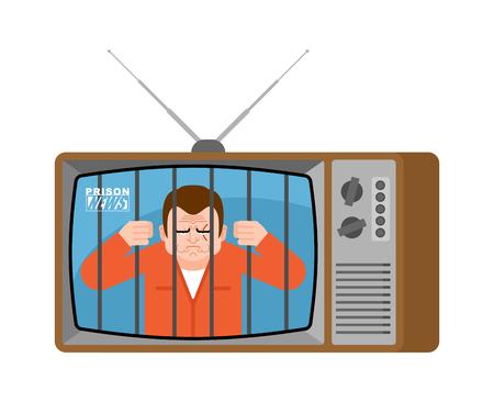 Prison news old tv. Prisoner Live broadcasting. jailbird broadcasting journalist. jailed Anchorman in tv studio.