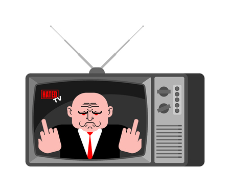 Hated news old tv. Hater Live broadcasting. Bad broadcasting journalist. greatly dislikes Anchorman in tv studio. Ilustração