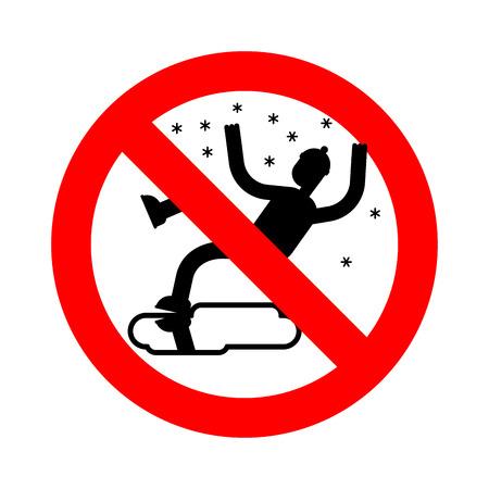 Stop Gladde ijsweg in de winter. Verbod Slip op ijs. Verbiedend rood verkeersbord voor gevaar