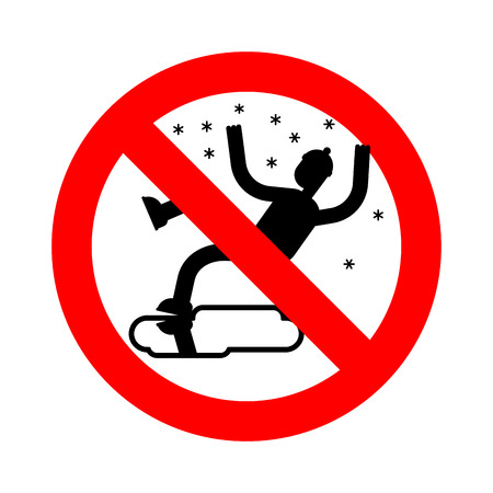 Stop Slippery ice road in winter. Ban Slip on ice. Forbidding Red road danger sign