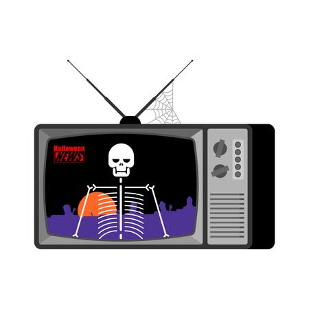 Halloween news old tv. Skeleton broadcasting journalist. Skull Anchorman in tv studio. Live broadcasting. Illustration