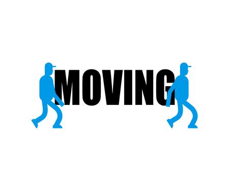 Logo du service de déménagement Signe de livraison. Deux déménageurs. Les porteurs portent le symbole. Déménageur chargeur homme tenant.