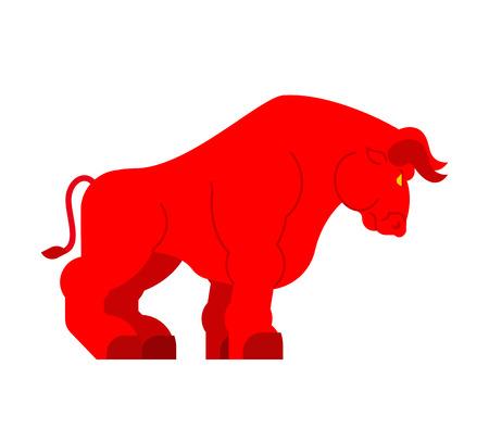 Bull rouge fort isolé. Buffle de grande puissance Vecteurs