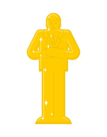 Golden statue boss. business Leader Gold sculpture. Worship businessman.