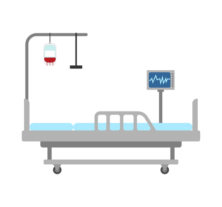 Medical bed isolated. hospital bed clinic. patient bedstead  Illustration