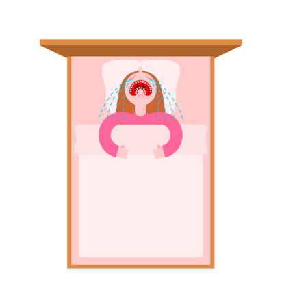 Little girl crying in bed. Baby capricious sleep. Banco de Imagens - 110944814