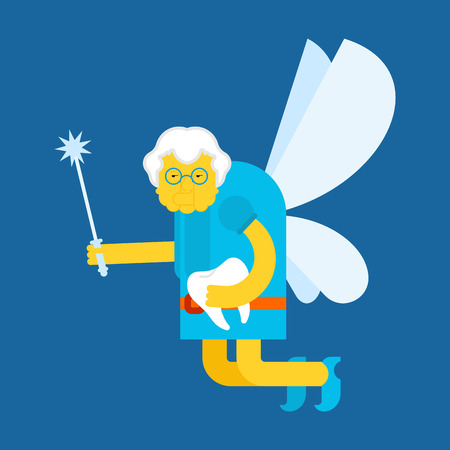 Old Tooth Fairy. Coin exchange for tooth. Little magical Grandmother. Tiny creature with wings. Flying Mythical fabulous character and magic wand