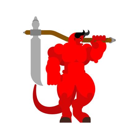 Demonio con guadaña. Satanás cornudo. Poderoso Belcebú señor de las tinieblas. Asmodeo fuerte y enojado. Diablo rojo grande. duro jefe infierno de lucifer