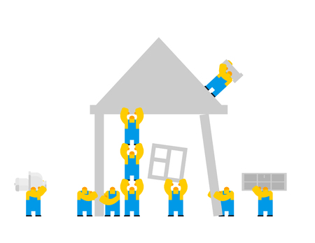 Builders building house. cartoon style. Workers and home. Walling and roof construction. Fastening Windows and doors