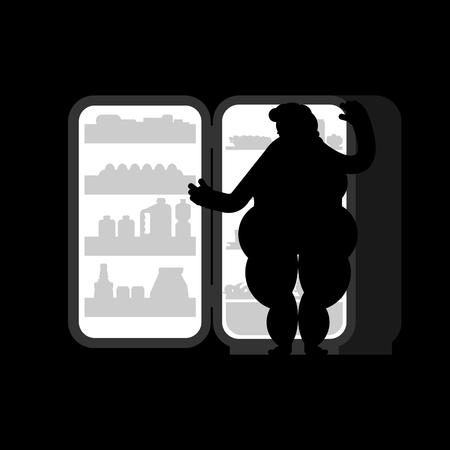 Frigo ouvert nuit et grosse femme. Silhouette de nourriture. Réfrigérateur pour glouton
