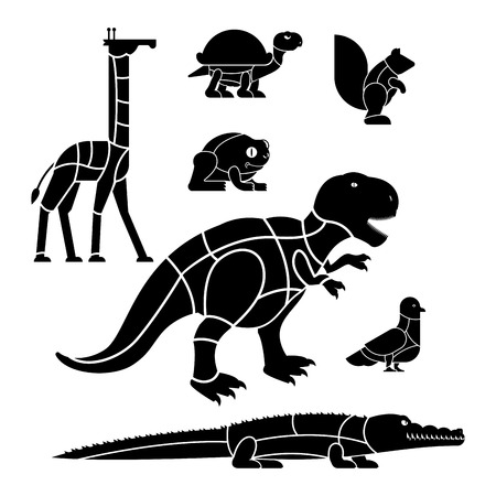 Cut of meat set beast Giraffe and squirrel. Dinosaur and pigeon. silhouette scheme lines of different parts meat. How to cut flesh Crocodile and turtle, frog. Poster Butchers diagram for meat stores.