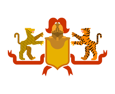 Heraldic Shield Tiger and leopard and Knight Helmet. Fantastic Beasts. Template heraldry design element. Coat of arms of royal family Vectores