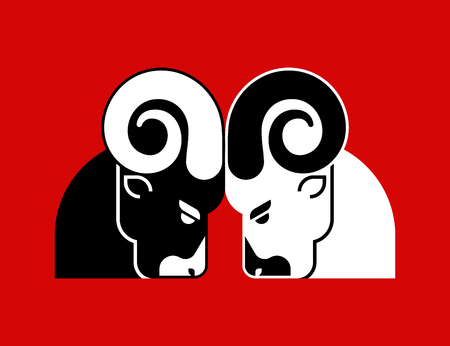 Fighting rams sign icon. Ram head fights. Horned sheep. Farm animal