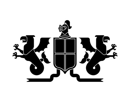 Heraldic Shield Sea Griffin and Dragon and Knight Helmet. Fantastic Beasts. Template heraldry design element. Coat of arms of royal family