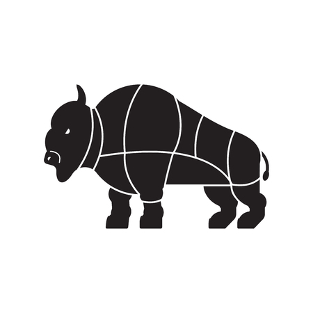 Cut of meat buffalo. Bison silhouette scheme lines of different parts meat. How to cut flesh bull. Poster Butchers diagram for meat stores. Barbecue and steaks, delicacy dishes.