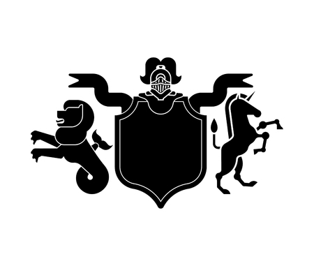 Heraldic Shield sea Lion and Unicorn and Knight Helmet. Fantastic Beasts. Template heraldry design element. Coat of arms of royal family