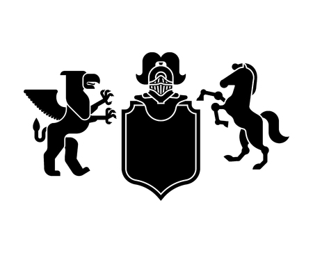 Heraldic Shield Griffin and horse and Knight Helmet. Fantastic Beasts. Template heraldry design element. Coat of arms of royal family