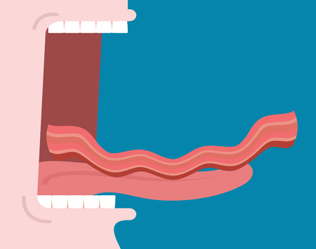 Open mouth to eat fried bacon Roasted Pork. Tongue and teeth. Glutton Vector Illustration