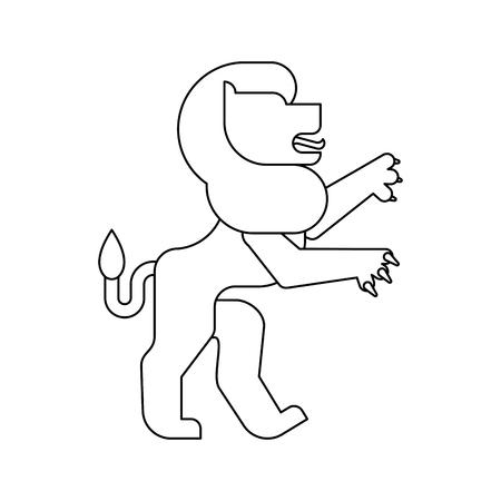 Lion Heraldic animal linear style. Fantastic Beast. Monster for coat of arms. Heraldry design element.
