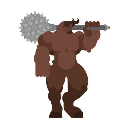 Minotaur strong. Powerful half human half bull. Mythical Monster with weapons Illustration