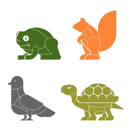 Cut of meat set beast. Turtle and frog silhouette scheme lines of different parts meat. How to cut flesh Dove and squirrel. Poster Butchers diagram for meat stores. Barbecue and steaks, delicacy dishes.