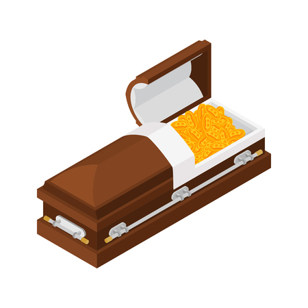 Death bitcoin in coffin. Rip cryptocurrency. Parting electronic money. Sorrow Virtual cash  Çizim