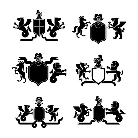 Heraldic Shield and Knight Helmet set silhouette. Fantastic Beasts. Template heraldry design element. Coat of arms of royal family. Hippocampus  and lion. Dragon and wyvern. Pgasus and griffin. Illustration