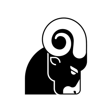 Ram head icon. Horned sheep face. Farm animal
