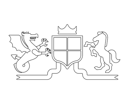 Heraldic Shield wyvern and Horse and Knight Helmet. Fantastic Beasts. Template heraldry design element. Coat of arms of royal family