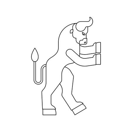 Minotaur Heraldic animal Linear style. Man with bull head. Fantastic Beast. Monster for coat of arms. Heraldry design element.