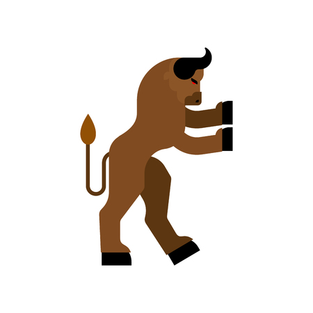 Minotaur Heraldic animal. Man with bull head. Fantastic Beast. Monster for coat of arms. Heraldry design element.