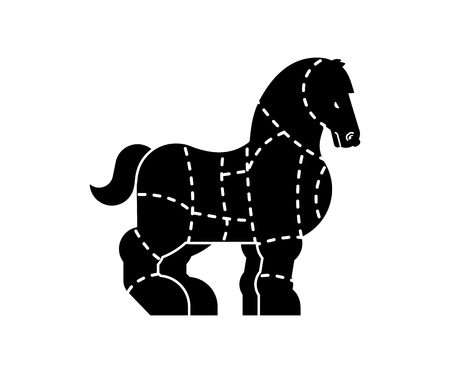 Cut of meat Horse. Racehorse silhouette scheme lines of different parts meat. How to cut flesh equine. Poster Butchers diagram for meat stores. Barbecue and steaks, delicacy dishes.