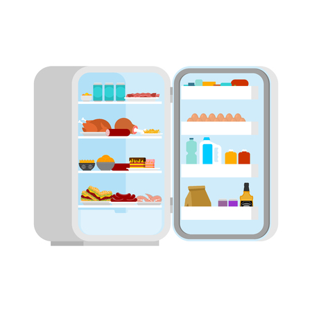 Open fridge Filled with food isolated. lot of food and Meat. Refrigerator for glutton