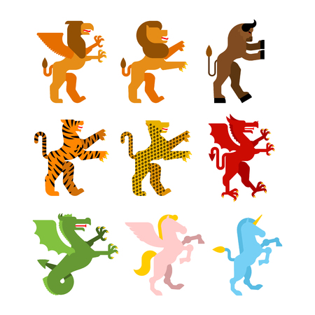 Heraldic animal set. Griffin, lion and minotaur. Teague, leopard and dragon. Unicorn and Pegasus. wyvern. Fantastic Beast. Monster for coat of arms. Heraldry design element.