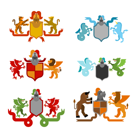 Heraldic Shield and Knight Helmet set. Fantastic Beasts. Template heraldry design element. Coat of arms of royal family. Hippocampus  and lion. Dragon and wyvern. Pgasus and griffin. leopard, tiger