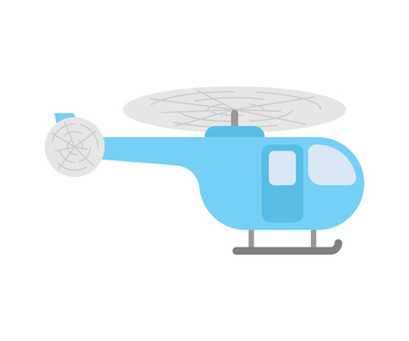 Helicopter cartoon isolated. Chopper Flying transport with propeller. Vector illustration