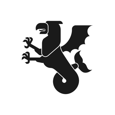 Sea griffin Heraldic animal Silhouette. Griffin with fishtail. Fantastic Beast. Monster for coat of arms. Heraldry design element. Illustration