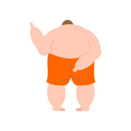Fat man back Naked isolated. Overweight mans back vector illustration