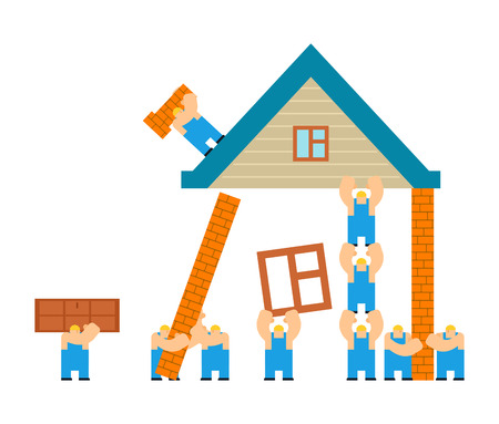 Builders building house. cartoon style. Workers and home. Walling and roof construction. Fastening Windows and doors Ilustração