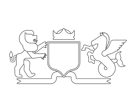 Heraldic Shield Lion and Hippocampus and Knight Helmet. Fantastic Beasts. Template heraldry design element. Coat of arms of royal family  Ilustração