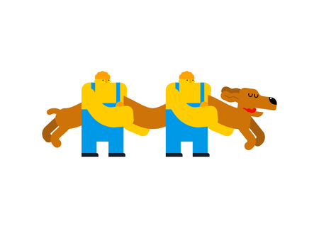 Workers carry dachshund long dog. Cartoon style