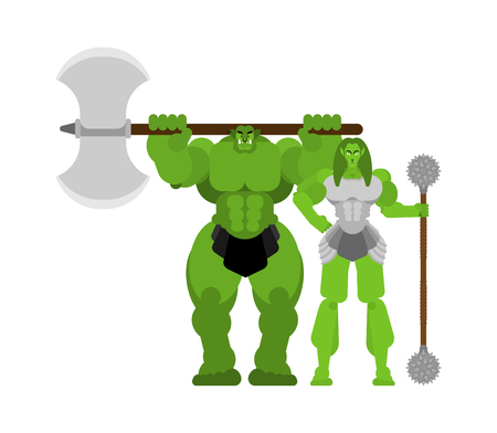 Ogre warrior Female and man. Green goblin Family Strong. berserk Troll with weapon.