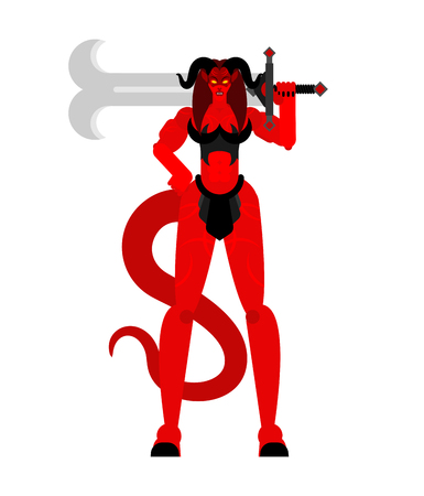 Woman demon Warrior with sword. Strong Female devil. berserk Succubus red. lady satan. Hell warriors. Vector illustration