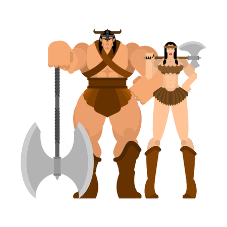 Barbarian warrior couple woman and man. berserk Family Strong. trong Powerful Medieval Mercenary Soldier lady and male