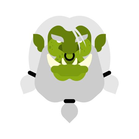 Ogre face warrior isolated. Green goblin head. Brutal Troll