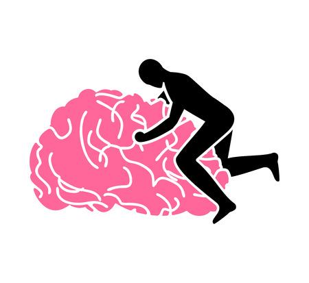 Fuck brain sign. fucking brains icon. Man sex on gyrus Иллюстрация