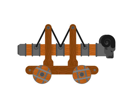 Battering ram isolated. Wall Mounted machine. Roma siege weapon 일러스트