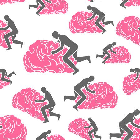 Fanculo il modello del cervello senza soluzione di continuità. sfondo del cervello. L'uomo sul giro