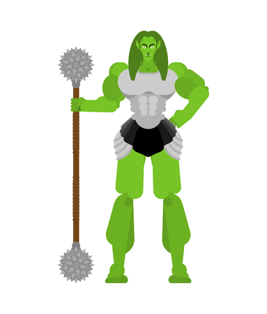 Ogre Female warrior with weapon. Green goblin woman Strong. berserk lady Troll